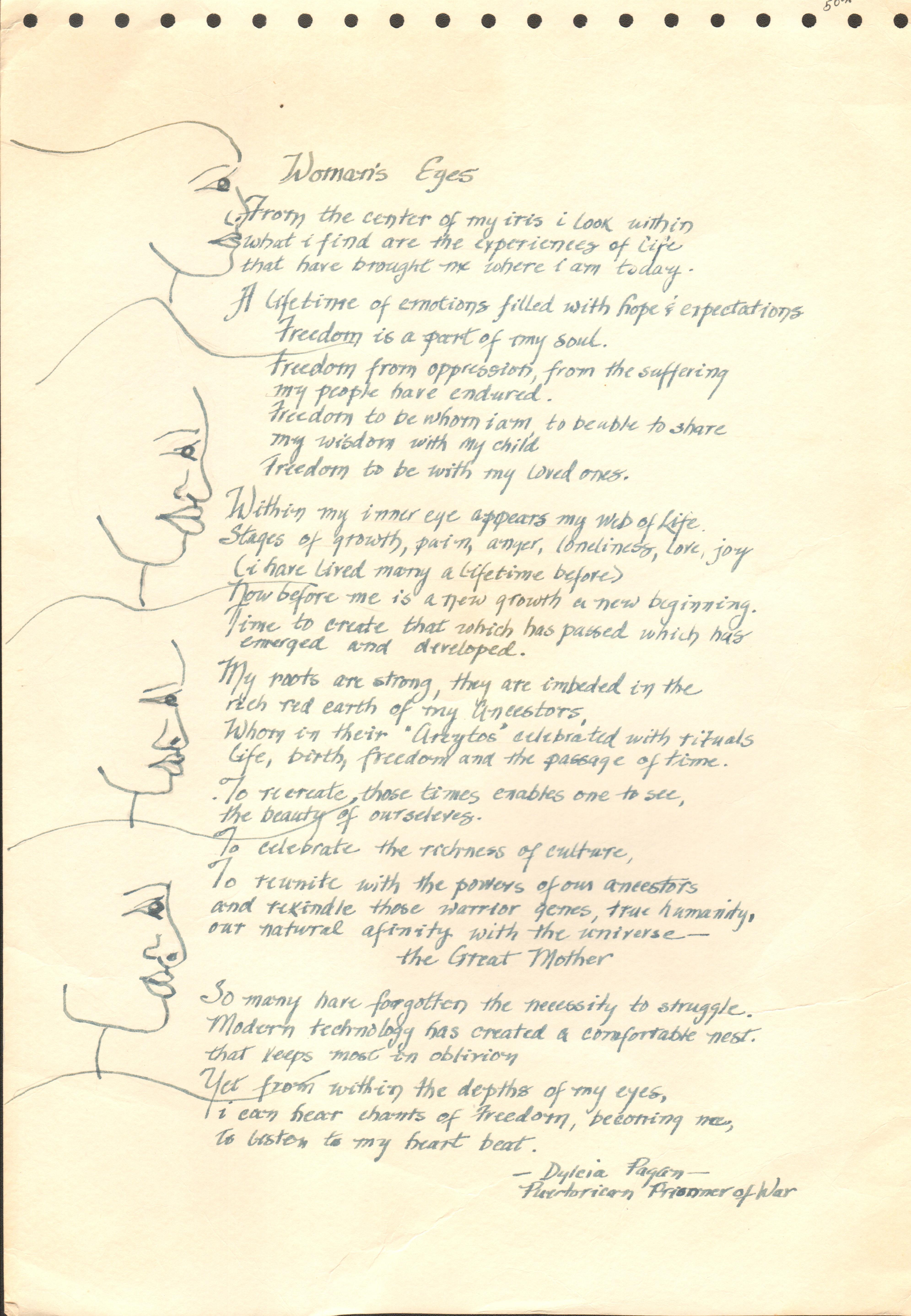 Poem by Dylcia Pagan (former Puerto Rican Prisoner of War)